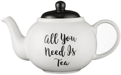 Price & Kensington 6 Cup Traditional Fine Stoneware Teapot, Black & White