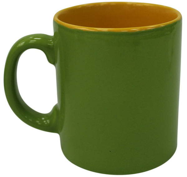 Set of 6 Coffee Cocoa Mugs in Green & Yellow Mugs 250ml Capacity