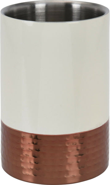 18cm Stainless Steel Cream & Hammered Copper Wine Cooler Double Walled