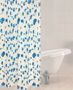 Sabichi Poppy Blue Polyester Shower Curtain 180 x 180cm Including 12 Hooks