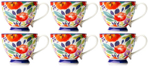 Set of 6 Large Oversized Bone China Mugs Coffee / Soup Mugs Floral Tropical