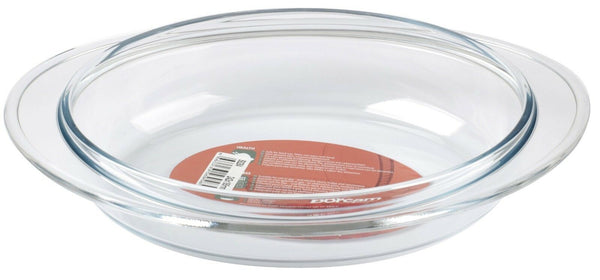 Borcam Oval Pie Dish Large Glass Roasting Oven Dish 30cm