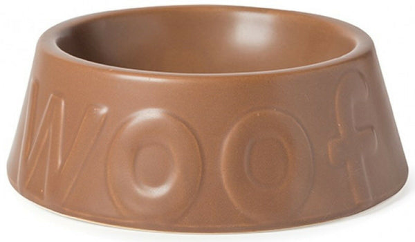 Ancol Medium Ceramic Brown Dog Bowl Dog Feeding Bowl for water or food