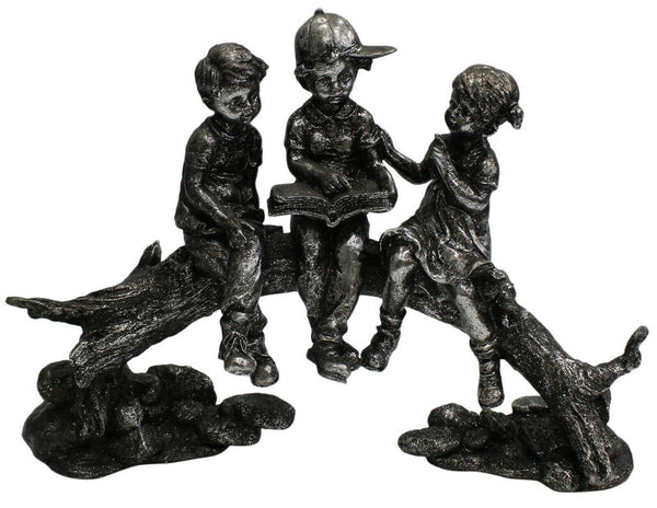 Large 34cm Retro Silver Metal Children Sitting On Branch 2 Boys 1 Girl Figurine