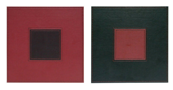 Faux Leather Stitch Square Stylish Placemats Reversible Maroon/Brown Set of 4