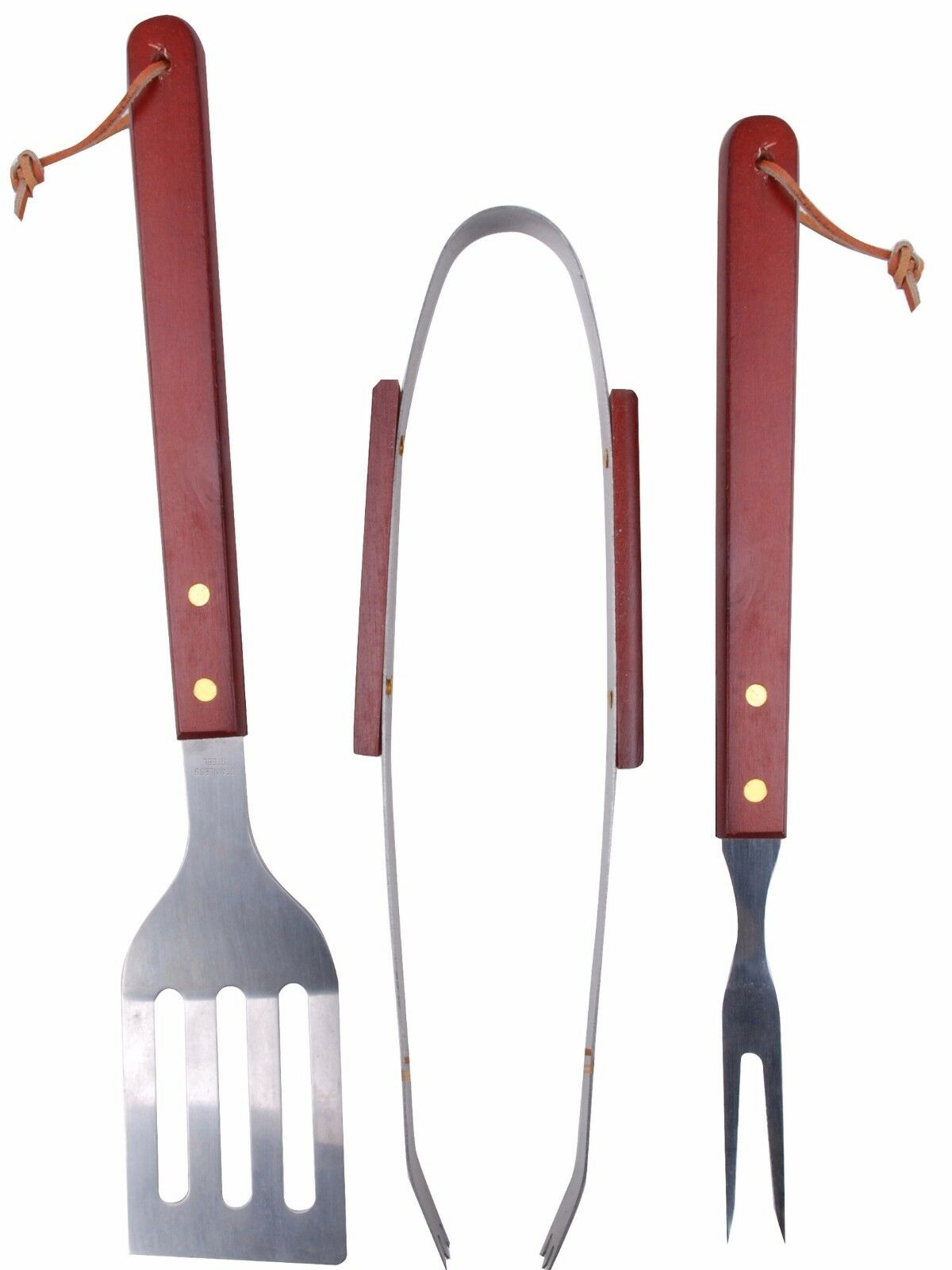 3 Piece BBQ set  Barbecue Spatula Tong and Fork with Wooden handles Deluxe Set