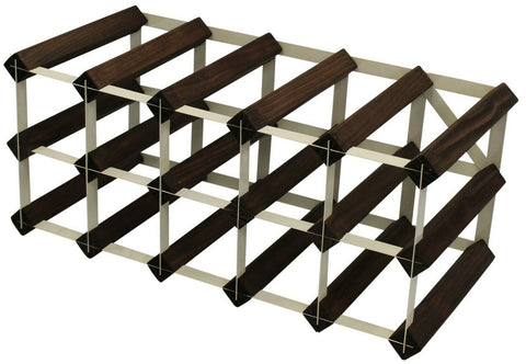 15 Bottle Traditional Wooden Wine Rack - Fully Assembled Brown & Cream Steel