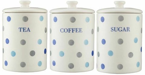 Price & Kensington Padstow Polka Dot Stoneware Tea Coffee Sugar Canisters