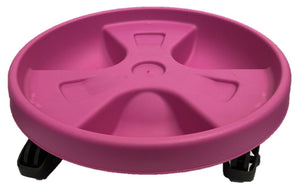 Round Plant Pot Trolley Plant Pot Holder With Wheels 28cm Pink
