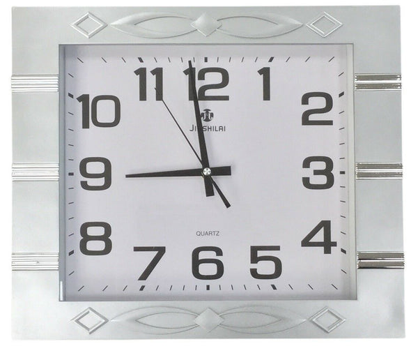 Large 40cm x 35cm Rectangle Wall Clock Silver Frame With Gloss Silver Stripes