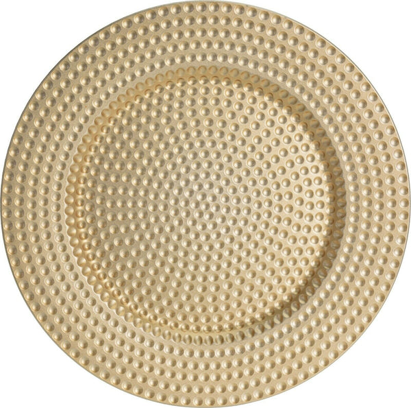 Set of 4 Gold Charger Plates Under Plates 33cm Elegant Range Dimple Design