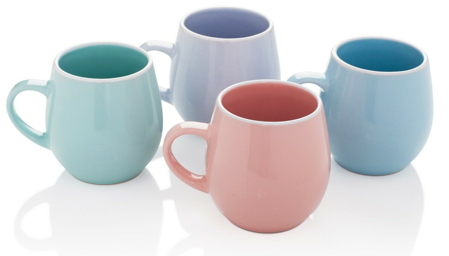 Stunning Set of 4 Bright Coloured Fruiti Porcelain EXTRA LARGE Coffee Soup Mugs