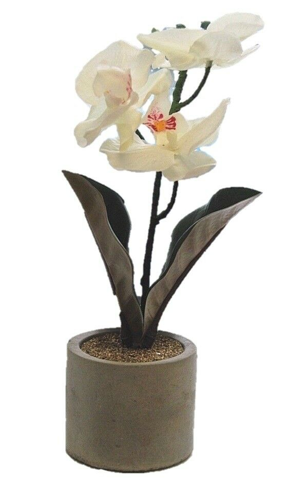 Artificial White Orchid In Grey Pot Ideal Gift 30cm Artificial Orchid Decorative