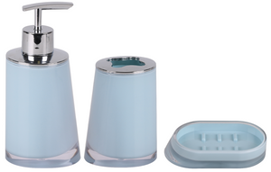 Plastic Bathroom Set Soap Dispenser Tooth Brush Holder Soap Dish Pastel Blue