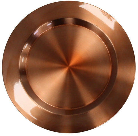 Set of 4 Stainless Steel Copper Metal 33cm Round Charger Plates Under Plates