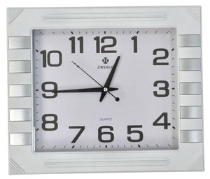 Large 40cm x 35cm Rectangle Wall Clock White Frame With Silver Finishes