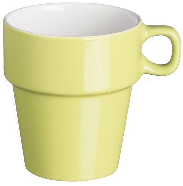 Price & Kensington Set of 6 Stacking Stackable Mugs Cups Bright Green