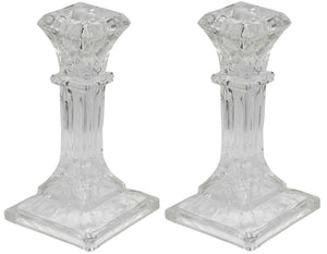 16cm Tall Square Glass Candlesticks Set of 2 Pillar Shaped Design Candle Stick