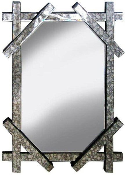 Antique Style Large Wall Mirror 80cm x 60cm Retro Marble & Silver effect mirror
