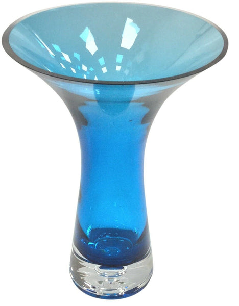 Large 28cm Tall Martini Style Blue Glass Flower Vase