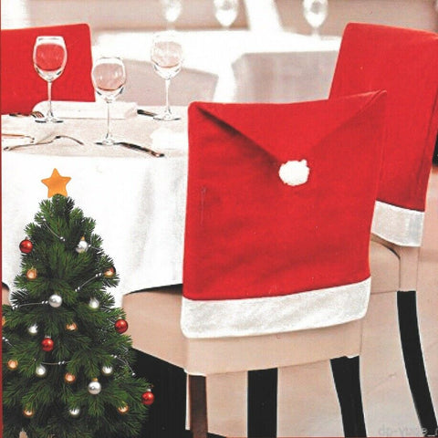 Set of 4 Santa Hats Santa Red Chair Covers Santa Pom Hat Christmas Chair Cover
