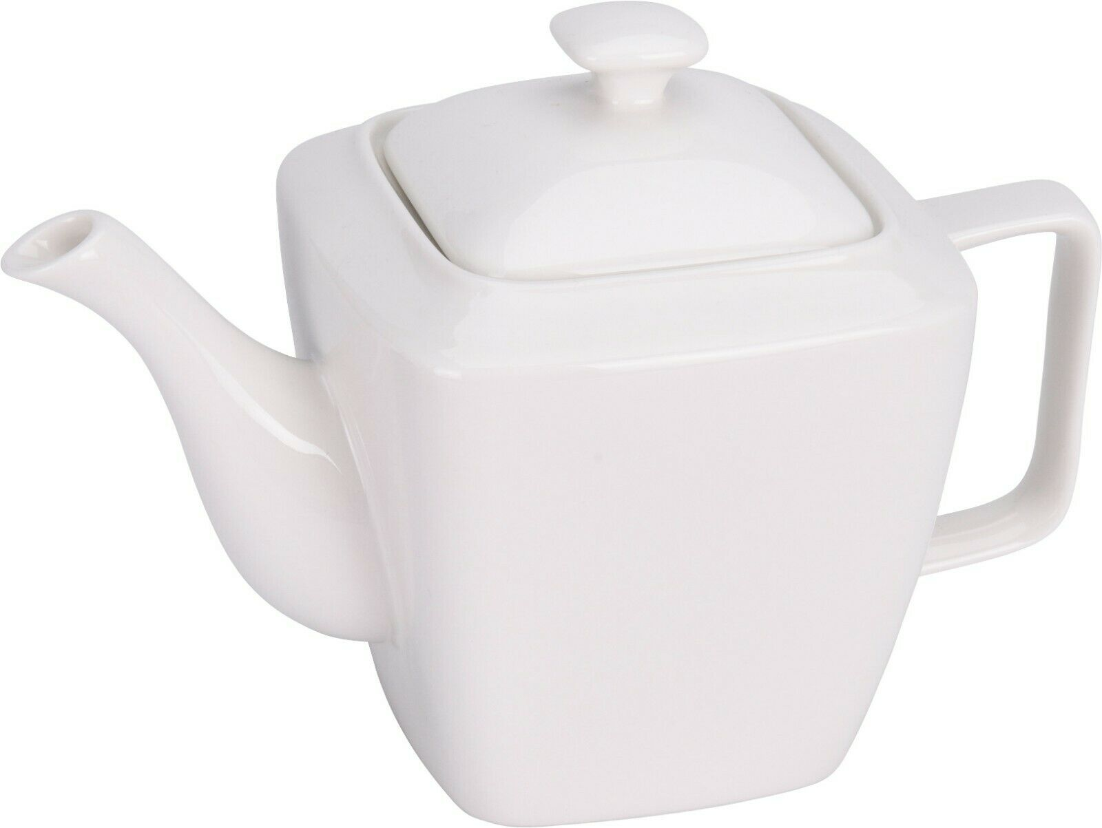 White Porcelain Teapot Square Shaped Modern 1 Litre White Tea Pots
