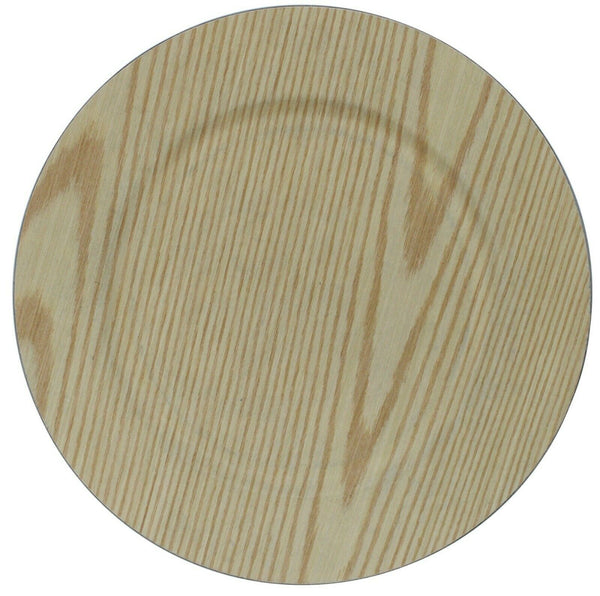 Set of 4 Pine Wood Effect Round Charger Plates Under Plates 33cm