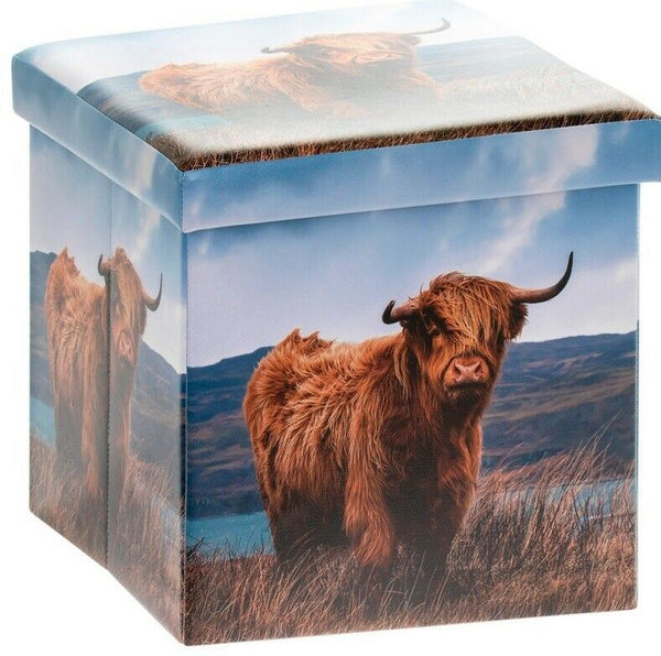 Ottoman Highland Cow Print Pouffe Storage Box Can be Sat On up to 150kg