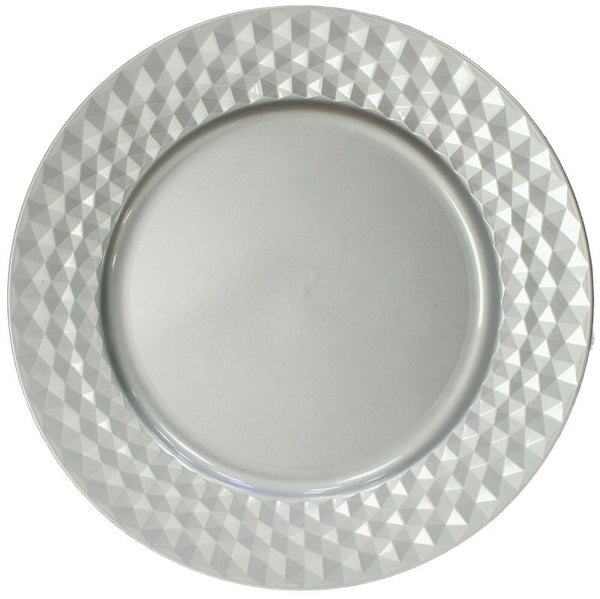 Set of 4 Silver Charger Plates Under Plates 33cm Embossed Diamond Design