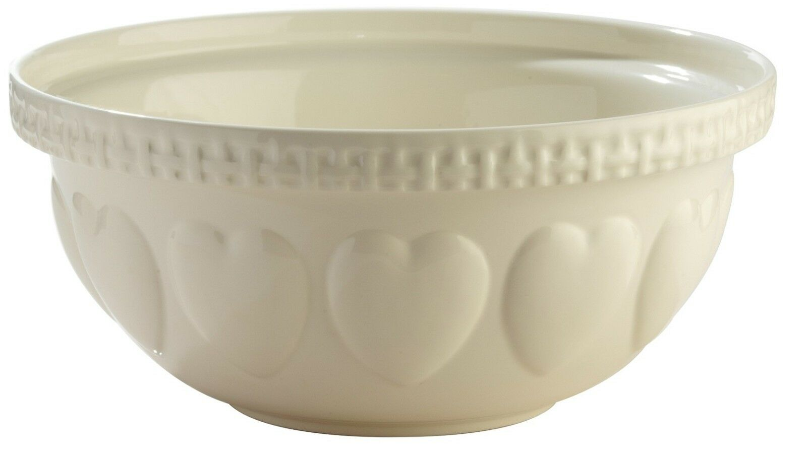 Mason Cash S12 Large 29cm Mixing Bowl CREAM with Hearts Deep Mixing Bowl