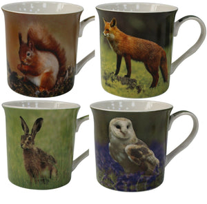Leonardo Collection Set of 4 China Coffee Mugs Set Wildlife Collection