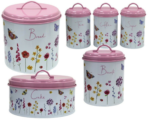 Leonardo Tea Coffee Sugar Canister Set Bread Bin Crock Biscuit Tin Cake Tin