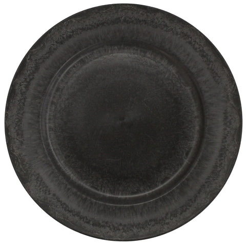 Set of 4 Grey Slate Effect Grey Round Charger Plates Under Plates 33cm