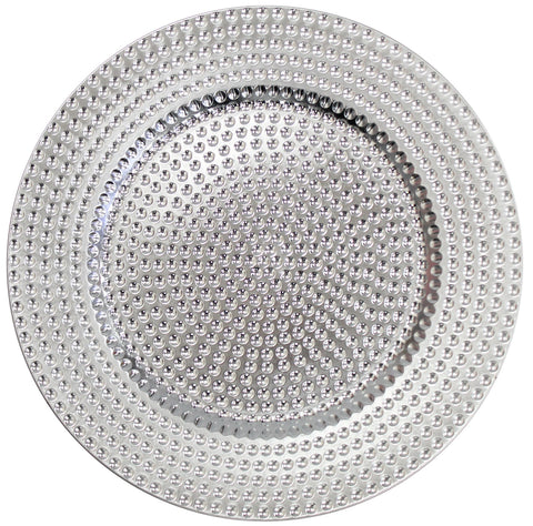 Set of 4 Silver Charger Plates Under Plates 33cm Premium Range Dimpled Design