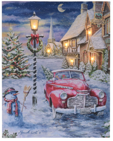 Large LED Light up Canvas Pictures 40cm x 50cm Wall Hanging Art Car In Snow XMAS