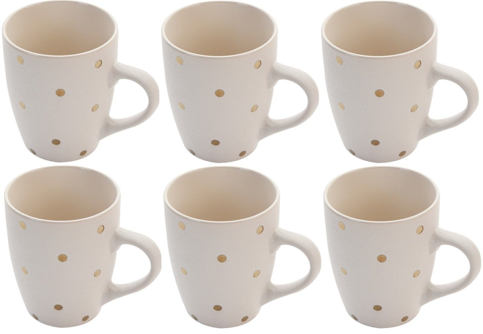 Set of 6 White Or Pink Textured Mugs With Gold Polka Dots