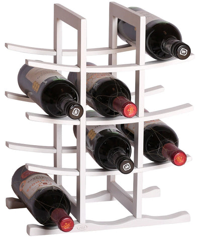RTA La Pagode 12 Bottle Countertop Bamboo Wine Rack Modular System Wine Rack White