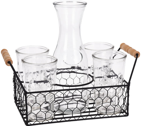 6 Piece Glass Tumbler & Jug Carafe Set On Metal Tray 4 Hi Ball Tumblers