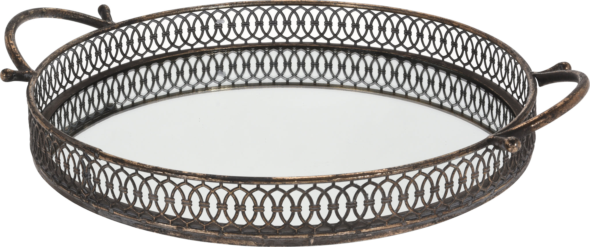 35cm Round Gold Antique Tray With Mirror Tray And Carry Handle Heavywe Cheerful Bargains Ltd
