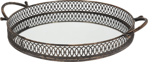 35cm Round Gold Antique Tray with Mirror Tray and Carry Handle Heavyweight