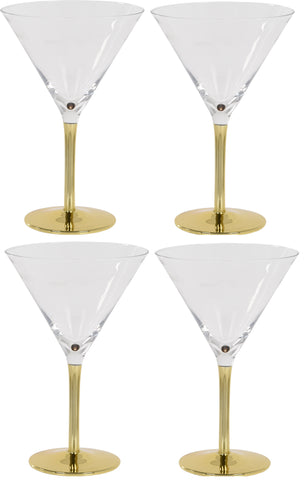 Set of 4 Large Martini Cocktail Glasses 270ml With Gold Stem