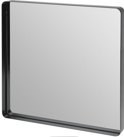 Large Black Metal Frame Square Wall Mirror 40cm x 40cm With Round Corners Recessed Design