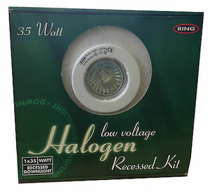 RING - 35w Halogen Bulb Low Voltage Recessed Down light Kit Transformer