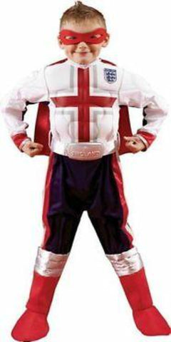 Boys White England Football Christmas Costume Superhero Mask Cape & Belt