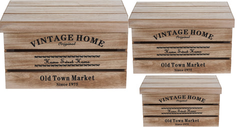 Set of 3 Wooden Vintage Storage Box With Lids Nestable & Stackable Chest Box