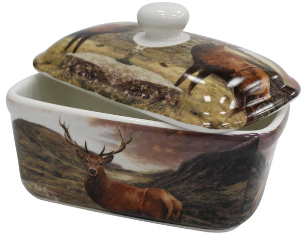 Lenoardo Collection Bell Top Fine China Wildlife Stag Butter Dish Gift Boxed
