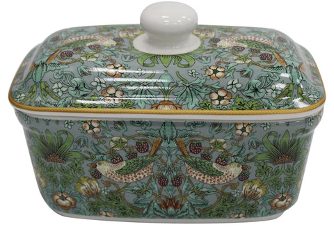 Leonardo Collection China Butter Dish Floral William Morris Strawberry Thief