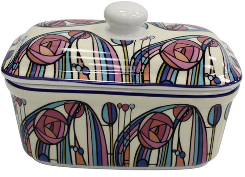 Lenoardo Collection Bell Top Fine China Floral Butter Dish by Rennie Mackintosh