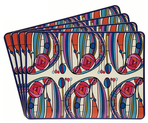 Leonardo Collection Set 4 Cork Backed Placemats Floral Print Rennie Mackintosh