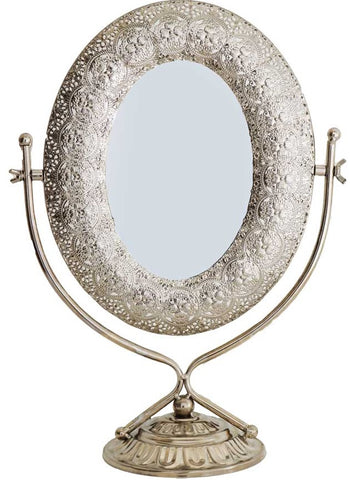 Large Modern Tall Dressing Table Mirror Make Up Mirror Silver With Silver Base